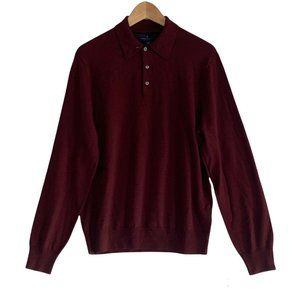 Brooks Brothers Extra Fine Merino Wool Collared Pullover Polo Sweater NWT Medium